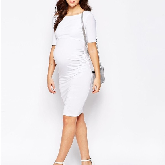 5ec024a3622 New Asos Maternity Bardot Dress Half Sleeve White